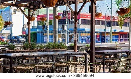 Mackay, Queensland, Australia - June 2020: Empty Open Air Restaurant In The City Centre With No Cust