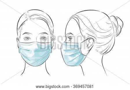 Vector Illustration Woman Wearing Disposable Medical Surgical Face Mask.