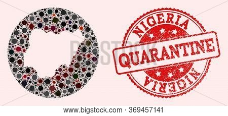 Vector Map Of Nigeria Collage Of Flu Virus And Red Grunge Quarantine Seal Stamp. Infection Cells Aro