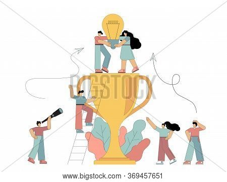 Path To Achieving The Goal, Flat Men Holding A Light Bulb In Their Hands, Standing On The Cup, Raisi