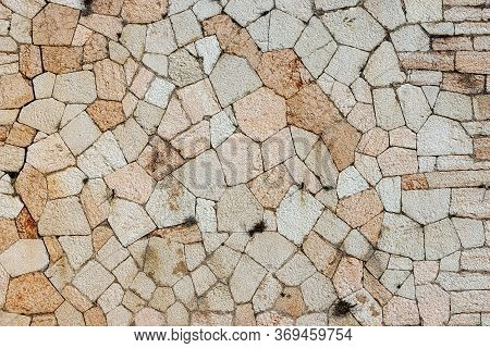 Close-up Of An Austrian Fortified Wall Made Of Irregular Stone Blocks - Background