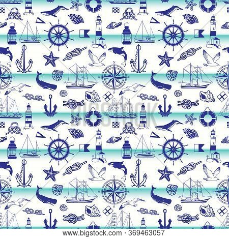 Seamless Pattern On The Marine Theme. Isolated Elements On A Light Background: Sailboats, Anchors, S