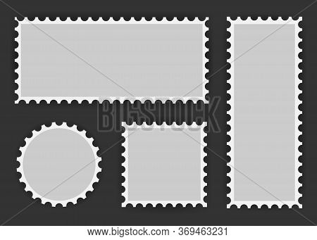 Set Of Postage Stamp, Collection Square, Circle And Rectangular Postage Stamps, Template On Dark Bac