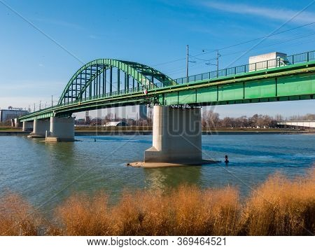Belgrade / Serbia - February 6, 2020: Old Rail Sava Bridge, Connecting Two Belgrade Shores Divided B