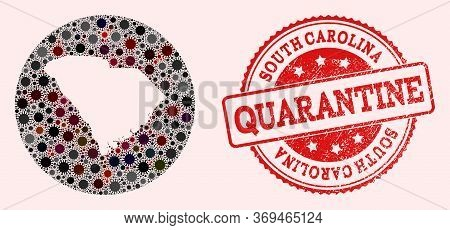 Vector Map Of South Carolina State Collage Of Covid-2019 Virus And Red Grunge Quarantine Stamp. Infe
