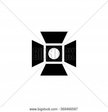 Studio Lighting, Spotlight Lamp, Floodlight. Flat Vector Icon Illustration. Simple Black Symbol On W