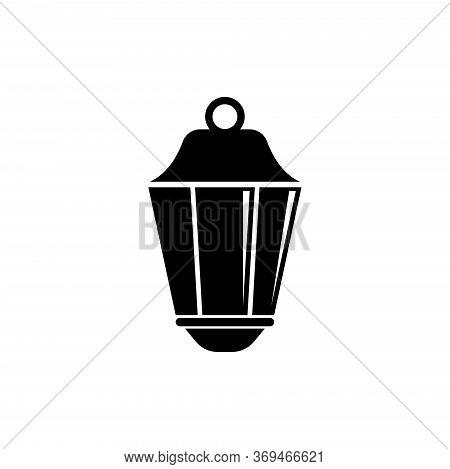 Street Lantern, Old Pendant Light Lamp. Flat Vector Icon Illustration. Simple Black Symbol On White