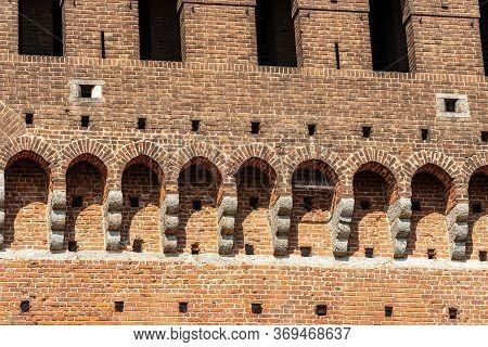 Castello Sforzesco. Closeup Of The Fortified Wall Of The Sforza Castle (xv Century), Milan, Lombardy