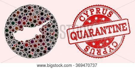 Vector Map Of Cyprus Island Collage Of Sars Virus And Red Grunge Quarantine Seal Stamp. Infection Ce