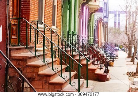 Many Colorful Different Staircases And Handrails Of Typical Albany Houses On Lancaster Street, Ny, U