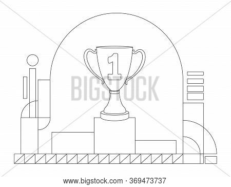 Prize On Pedestal Outline Vector Illustration. Contest Victory, Competition Win Contour Composition