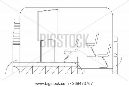 Briefing Room Outline Vector Illustration. Corporate Boardroom, Conference Hall Contour Composition