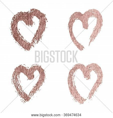 Set Of Hearts Rose Gold Foil Glitter Icon For Luxury Valentine, Wedding Or Birthday Greeting Card. H
