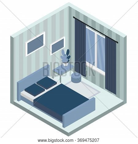 Bedroom Isometric Interior Design Composition With Bulky Objects Bedroom Furniture, Window And Bed V