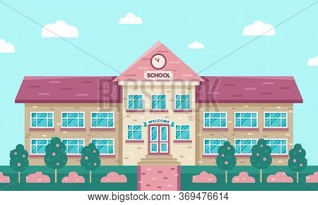 School Building Vector Illustration. Flat Geometric Style. Back To School Element. Landscape With Tr