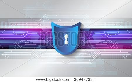 Cyber Security And Data Protection. Shield Icon, Future Technology For Verification. Abstract Hi-tec