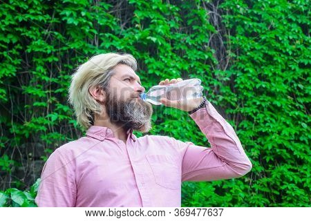 Aqua. Dehydration. Man Drink Water Outdoor. Man With Water Bottle. Healthy Lifestyle. Health Care Co