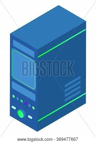 Datacenter Technology Vector, Isolated Cbock Server With Information And Data Isolated Icon. Info On