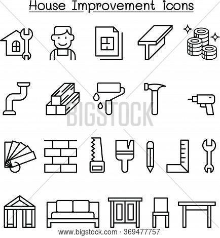 House Improvement Icon Set In Thin Line Style