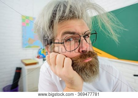 Back To School. Teacher In Glasses. Learning, Education, School Concept. September 1. Teacher Prepar