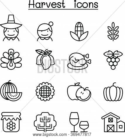 Harvest & Thanksgiving Icon Set In Thin Line Style