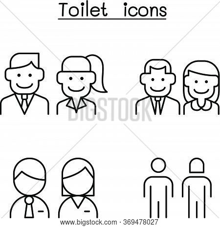 Toilet, Restroom, Wc Icon Set In Thin Line Style