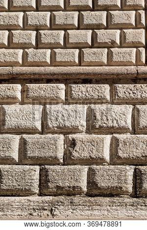 Ashlar (bugnato In Italian), Closeup Of A Wall Made Of Big Blocks Of Stones In Trento City, Trentino
