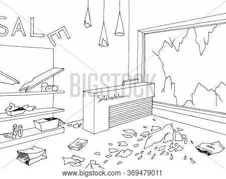 Destroyed Store Interior Shop Black White Graphic Sketch Illustration Vector