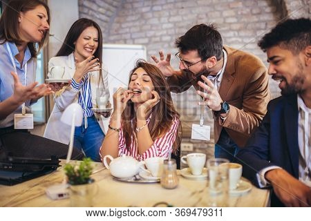 Beautiful Businesswoman At Workplace, Ignoring Work, Not Listening To Annoying Clients Or Bothering