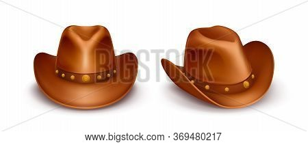 Realistic Vector Illustration Of Brown Cowboy Hats With Band Across The Top, Isolated On White Backg