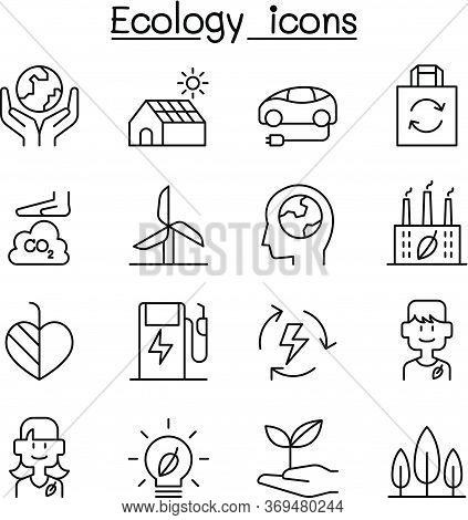 Ecology, Sustainable Design, Conservation, Eco Friendly Design Icon Set In Thin Line Style