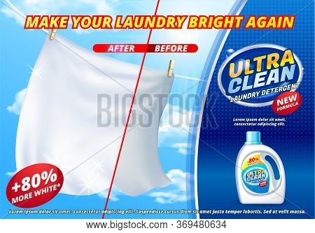 Laundry Detergent Ads, Bright White Clothes Sheets Hanging Out To Dry On Blue Sky Background With Pr