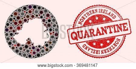 Vector Map Of Northern Ireland Collage Of Covid-2019 Virus And Red Grunge Quarantine Seal Stamp. Inf