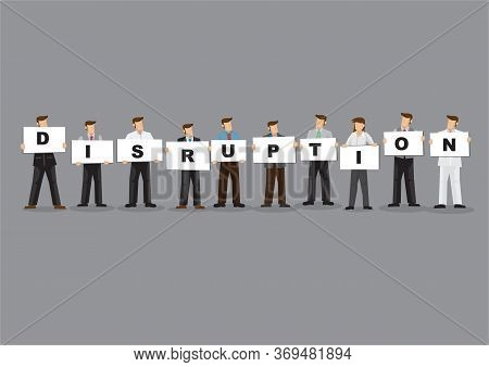 Illustration Of Business Man And Woman Holding White Board Cards Title Disruption. Full Length On Gr