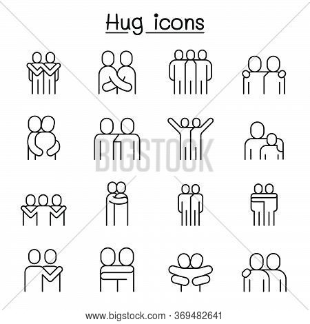 Love, Hug, Friendship, Relationship Icon Set In Thin Line Style