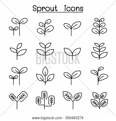Sprout, Plant, Treetop, Leaf Icon Set In Thin Line Style Vector Illustration Graphic Design