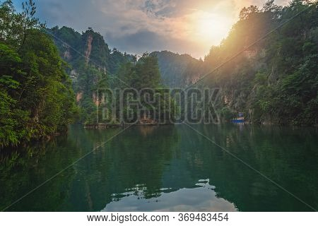 Stunningly Beautiful Karst Landscape Surrounding The Baofeng Lake, Wulingyuan, Zhangjiajie National