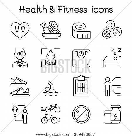 Heath , Fitness, Diet Icon Set In Thin Line Style Vector Illustration Graphic Design