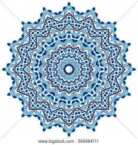 Mandala. Indian Antistress Medallion. Abstract Islamic Flower, Arabic Henna Design, Yoga Symbol.