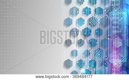 Technology Communication Concept. Futuristic Blue Background With Hexagons And Circuit Board. Modern