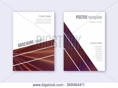 Geometric Cover Design Template Set. Orange Abstract Lines On Wine Red Background. Brilliant Cover D