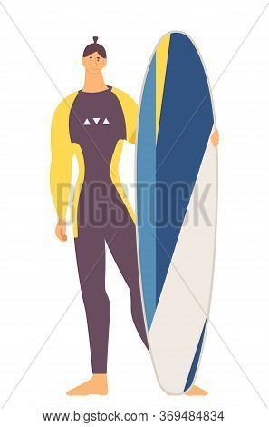 Tall Strong Young Man With Longboard Surfboard Standing Isolated On White In Full Suit Beachwear. Fl