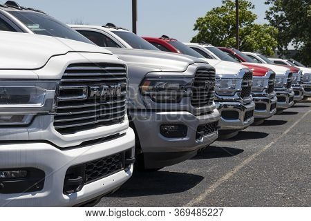 Indianapolis - Circa June 2020: Ram 1500 Display At A Chrysler Ram Dealership. The Subsidiaries Of F