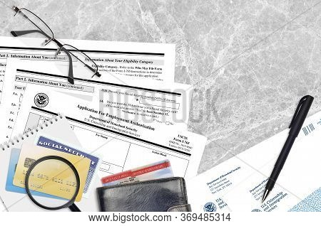 Uscis Form I-765 Application For Employment Authorization Lies On Flat Lay Office Table And Ready To