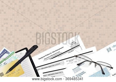 Uscis Form I-586 Immigrant Petition By Alien Entrepreneur Lies On Flat Lay Office Table And Ready To