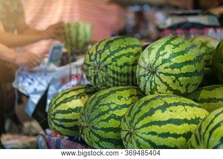Huge Watermelons For Sale In A Fruit And Vegetable Shop On The Street, China
