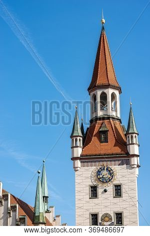 Altes Rathaus. Closeup Of The Clock Tower Of The Old Town Hall Of Munich, Until 1874 The Domicile Of