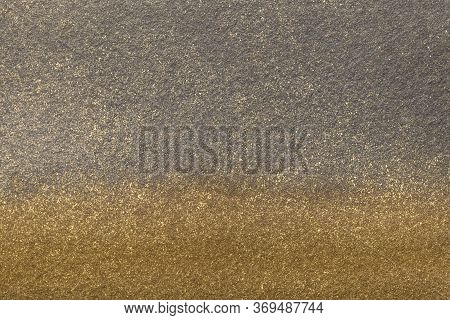 Abstract Art Background Gray And Golden Colors. Watercolor Painting On Canvas With Bronze Gradient.