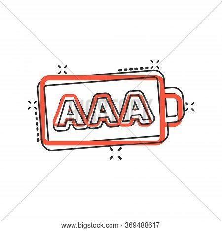Aaa Battery Icon In Comic Style. Power Level Cartoon Vector Illustration On White Isolated Backgroun
