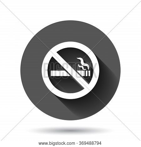 No Smoking Sign Icon In Flat Style. Cigarette Vector Illustration On Black Round Background With Lon
